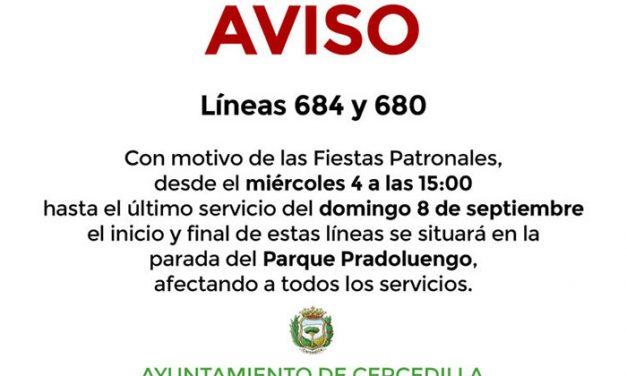 Modificaciones de las líneas 684 y 680 en Cercedilla
