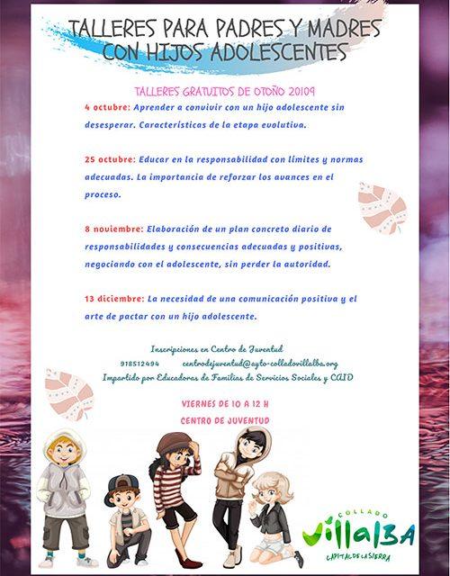 El Ayuntamiento de Collado Villalba pone en marcha la Escuela para madres y padres con hijos adolescentes