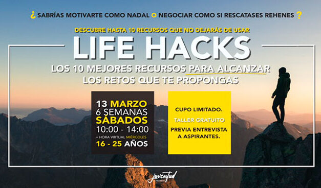 Taller de formación para jóvenes «Life hacks, los 10 mejores recursos para alcanzar los retos que te propongas» en Alpedrete